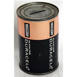 MALLORY DURACELL ALKALINE. A can shaped bank, with a coin slot on top. 7cm in diameter. 12cm in heig