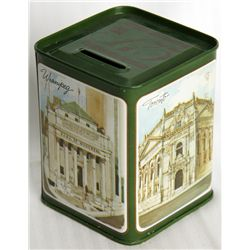 A medium size rectangular shaped can. Coin slot on top. 8cm x 8cm x 10cm. Green and white. EF.
