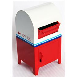 CANADA POST MAILBOX. Coin slot at mail box door. Key present. 9 1/2cm x 17cm x 8cm. Red and White pl