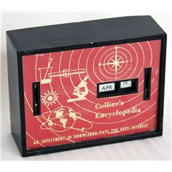 COLLIER'S ENCYCLOPEDIA. A rectangular Coin Calendar bank. Two coin slots in front. Currency slot on