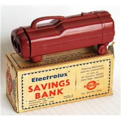 ELECTROLUX VACUUM CLEANER. (Small 1961). Coin slot on top. 4cm x 3 1/2cm x 11 1/2cm. Brown plastic.
