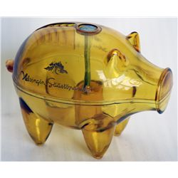 HELLINGFORS SPARBANK. Piggy bank shaped. Coin slot on top. 3cm x 9cm x 7cm. Clear plastic, yellow ti
