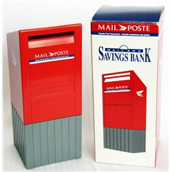 MAIL/POSTE. A Mail Box shaped bank. Coin slot in front of mail box. 9cm x 9cm x 21cm. Red and Gray p