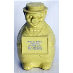 RALPH H. ZENDER/ADDISON ON BAY LTD. A yellow plastic bank in the shape of a standing pig. VF.