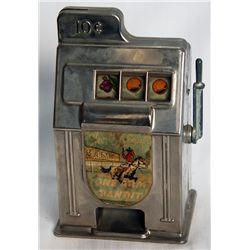 ONE ARM BANDIT BANK. Ten cents slot machine shape. Coin slot in top. 7cm x 9cm x 14cm. Maker-Rexco,