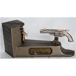 TORONTO GENERAL TRUSTS. Shape of a Gun, Building and Cowboy. A Wild West bank, Gun shots coin into s