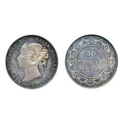 1870. Both PCGS and NGC graded SPECIMEN-65. Plain edge. Medium heavy blue and pearl toning over flaw