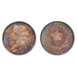 ONE CENT. 1861. PCGS graded SPECIMEN-64. Red-Brown. 25% red luster remaining over deep reflective fi