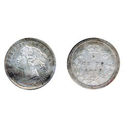 FIVE CENTS. 1862. Small '6' variety. ICCS Mint State-64. Light to medium heavy, multi-hued toning.