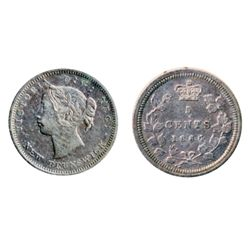 FIVE CENTS. 1864. Small '6' variety. ICCS Extra Fine-40. Lightly toned.