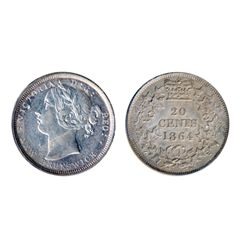 TWENTY CENTS. 1864. Recut '8'. ICCS Extra Fine-40. Medium heavy toning.