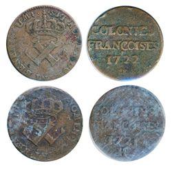 Breton-506. 9 Deniers. 1721H. Fine; Breton-506. 9 Deniers. 1722H. Fine. Letter 'H' weakly struck. Lo