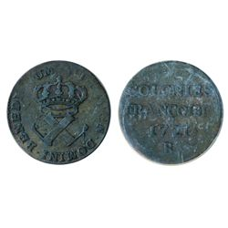 Breton-507. 9 Deniers. 1721B. Fine+. A scarce French Regime token.