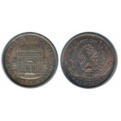 Breton-527. 1/2 Penny. 1842. Medium trees. Unc. Glossy, with a touch of luster.