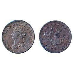 Breton-867. NS-1A4. 1823. 1/2 Penny. A glossy brown AU+ token.