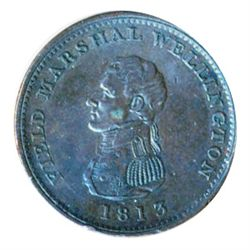 Breton-974. WE-3. One Penny Token. 1813. Field Marshal Wellington. VF.