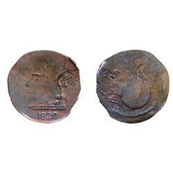 BL-32. Wood-19. Imitation 'Tiffin' Token. Copper. 4.2 grams. Fine to Very Fine for type. In addition