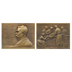 FRANCE: Prof. Paul Segond 1905, high relief bust / operating room scene, by CALM ? monogram, 81 x 62