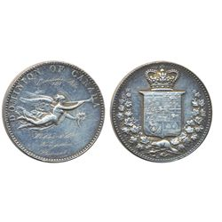 LeRoux-1460. CH-EDOA-3. Obv: DOMINION OF CANADA/Angel to the right. Rev: Arms of Canada. Silver. By