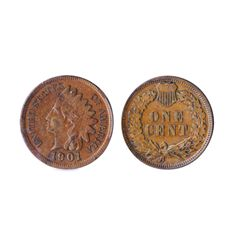 Indian Cent. 1901. A minor mint error, with the obverse denticles flattened in four areas, most like