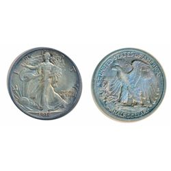 Liberty Walking 50 Cents. 1916-P. A lustrous Mint State-60. Lightly toned.