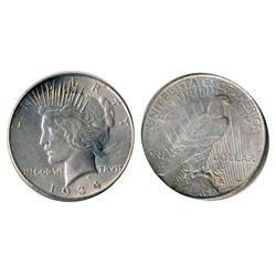 Peace Dollar. 1934-D. Mint State-62. Brilliant.