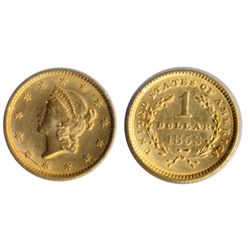 $1.00 Gold. 1853. Type One. AU-50.