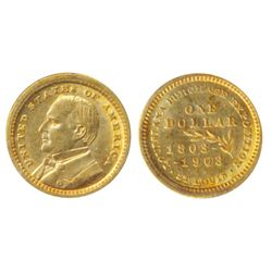 $1.00 Gold. LA. Purchase/McKinley. 1903. AU-55. Brilliant golden luster.