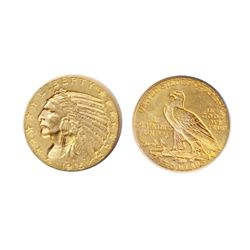 $2 1/2 Gold. 1915. Indian Head. EF-45.