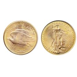 $20.00 Gold. 1923-D. St. Gaudens. UNC-60. Brilliant golden luster.