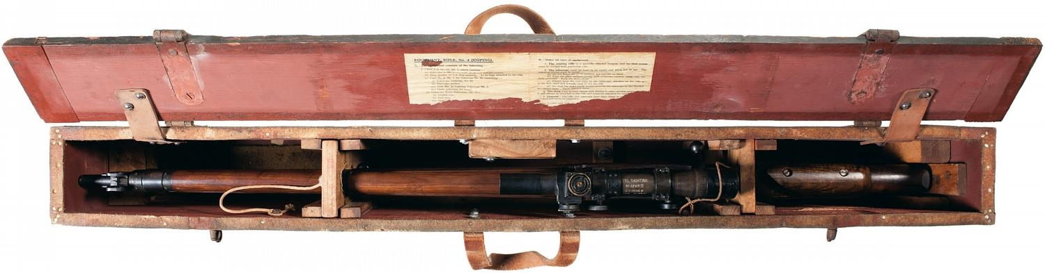 Excellent Wwii No 4 Mki T British Enfield Sniper Rifle With Wooden Crate
