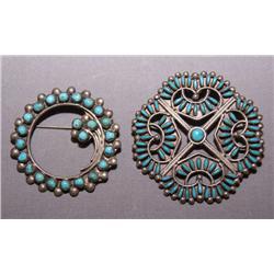 TWO ZUNI SILVER PINS