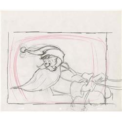 Chuck Jones original layout drawing of Santa from A Chipmunk Christmas