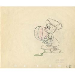 Canine Caddy original production drawing of Mickey golfing