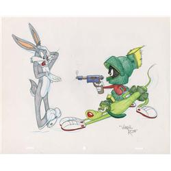 Bugs Bunny and Marvin Martian original Virgil Ross drawing