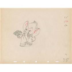 Elmer Elephant pair of original production drawings of Elmer & Tilly