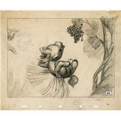 Fantasia original production storyboard drawing of baby Pegasus