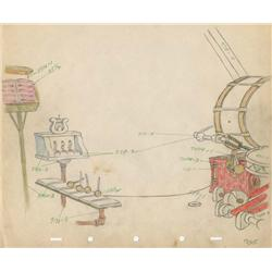 Mickey's Amateurs pair of matching original production drawings of Goofy and band stage color model