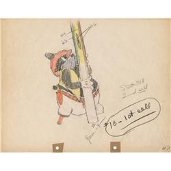 Two-Gun Mickey original color model drawing of Peg-leg Pete