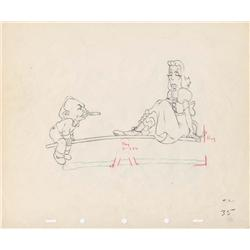 Edward G. Robinson and Greta Garbo original production drawing from Mother Goose Goes Hollywood