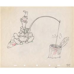 Pair of original production drawings of Laurel & Hardy from Mother Goose Goes Hollywood