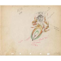 Pair of original production drawings from The Moth and the Flame