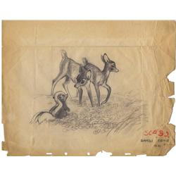 Bambi and Flower original production layout drawing from Bambi