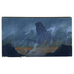 The Lion King color key painting of Pride Rock