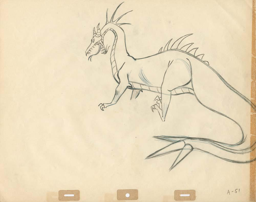 Original Production Drawings Of Maleficent As The Dragon From Sleeping Beauty
