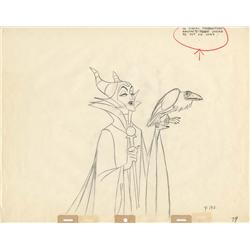 Original production drawing of Maleficent with raven by Marc Davis from Sleeping Beauty