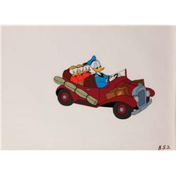 Original production cel of Donald Duck and nephews in car
