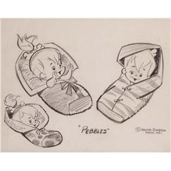 The Flintstones Pebbles original pencil production model sheet