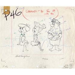 The Flintstones layout drawing of Wilma and Betty signed by Bob Singer