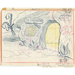 The Flintstones original background layout drawing
